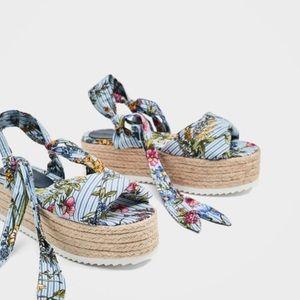 Zara Tied Floral Raffia Platform Sandals
